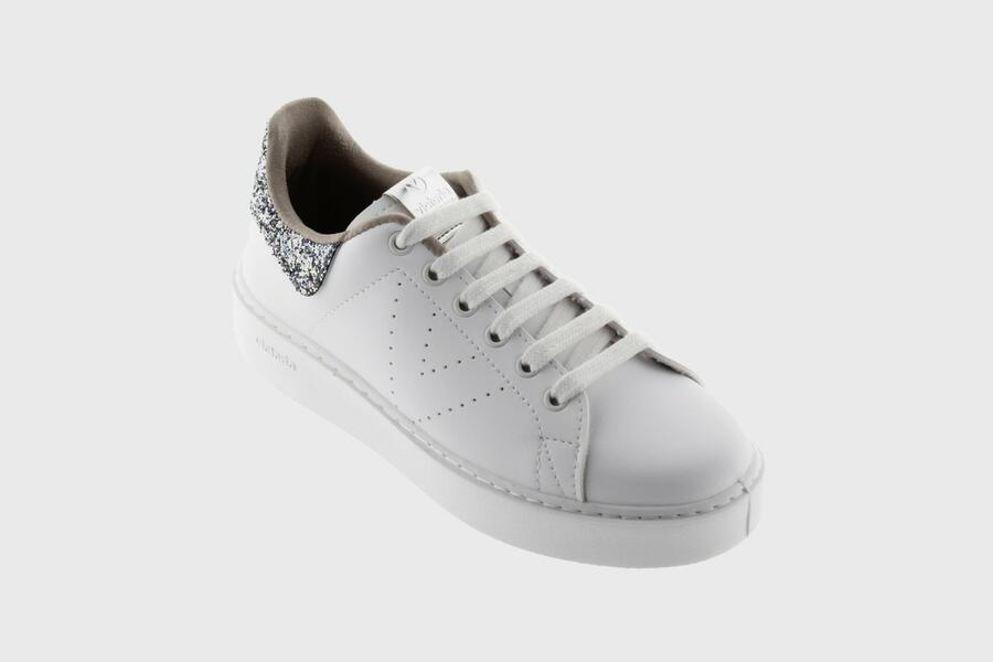 Victoria - Sneakers Zeppa 1260139 - Bianco Glitter Plata