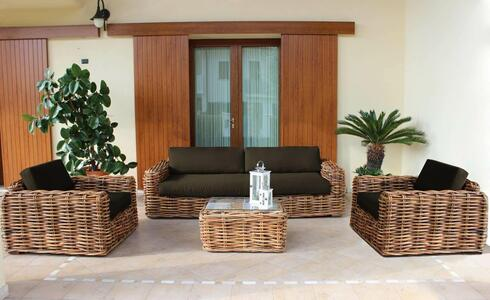 Salotto da giardino in rattan naturale POLINESIA BIG con cuscini divano 3 posti