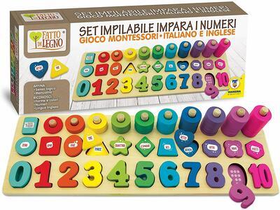 Set Impilabile in Legno Impara i Numeri - Teorema 40559 - 3+