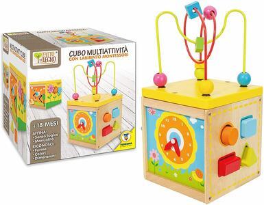 Cubo Multi attività in Legno con Labirinto Montessori - Teorema 40588 - 3+