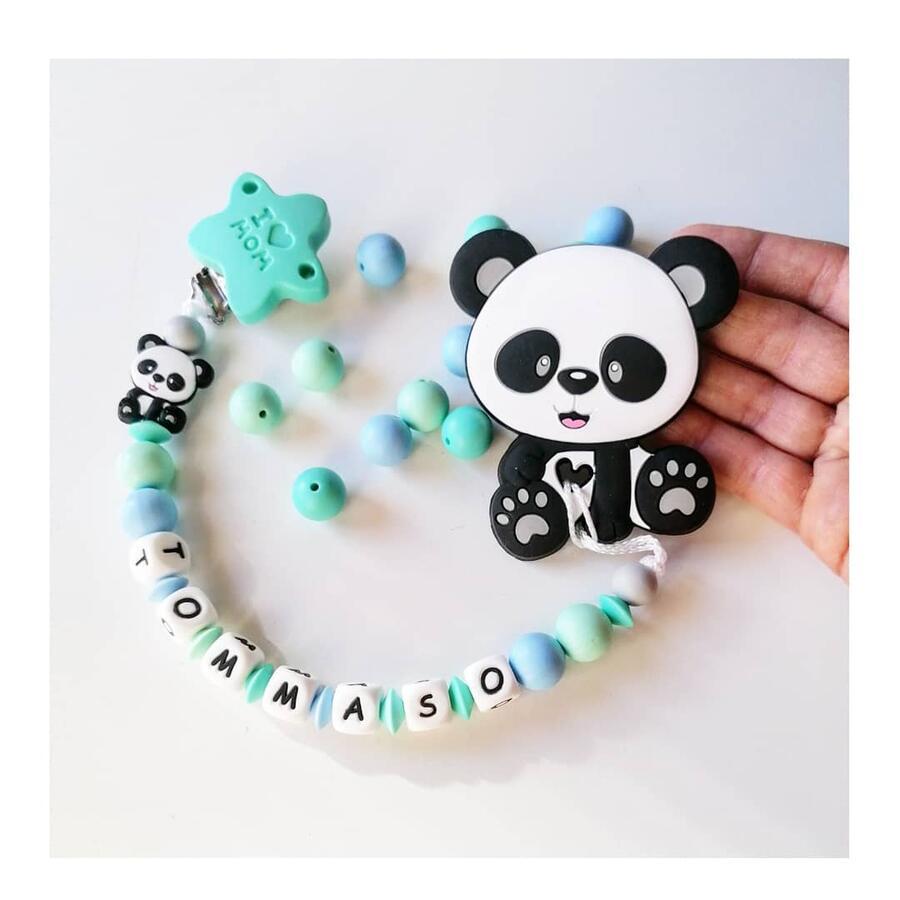 Catenella portaciuccio con Panda massaggiagengive bimbo