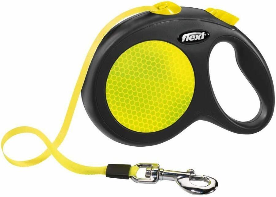 Flexi New Neon Giallo Guinzaglio a Fettuccia Per Cani Fluorescente 3 Metri XS 12 kg