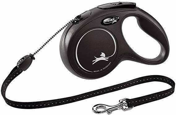 Flexi  New Classic Nero M 5 Metri Fettuccia Peso 25 Kg Guinzaglio Per Cani Retrattile