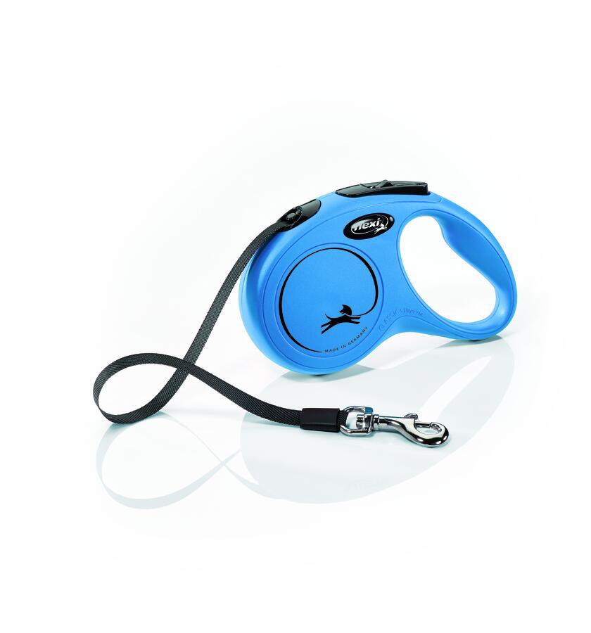 Flexi New Classic Blu L 5 Metri Fettuccia Peso 50 Kg Guinzaglio Per Cani Retrattile