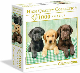 PUZZLE SCATOLA PICCOLA 1000 PEZZI HIGH QUALITY COLLECTION I TRE LABRADOR 50 X 69 CM CLEMENTONI