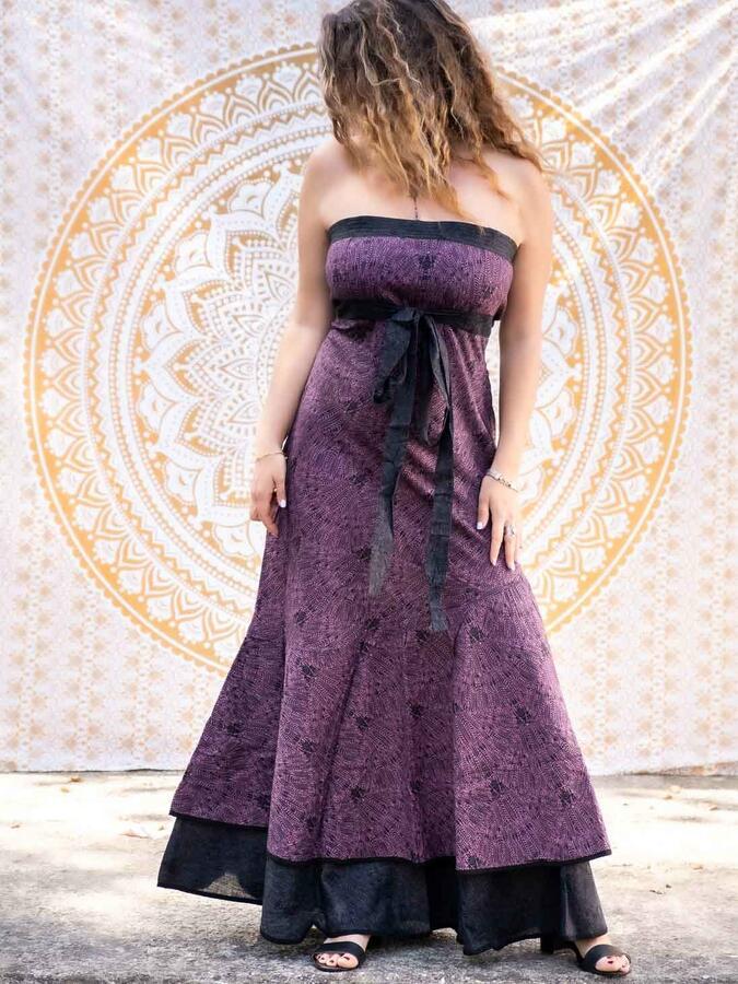 Vestito donna autoreggente Shanti - bicolor viola / grigio scuro