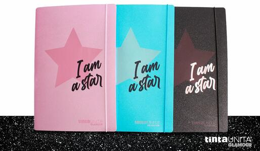 "CARTELLINA IN PPL CON ELASTICO GLAMOUR ""I AM A STAR"" TINTAUNITA"