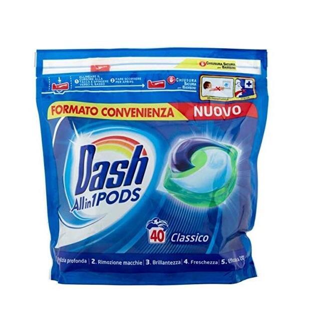 Dash PODS Allin1 Detersivo Lavatrice in Capsule Classico 40 Lavaggi