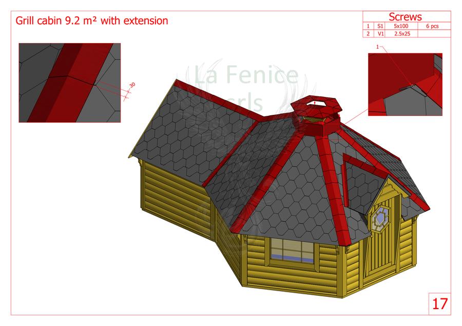 Grill Kota esagonale con estensione Mod. Greta 9,2mq + L. 3,0 - 45 mm - Con Grill e Camino