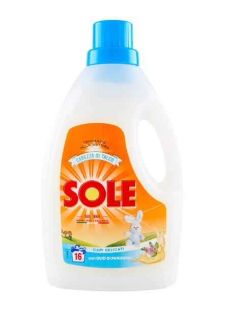 Sole Detersivo per Bucato in Lavatrice e a Mano, Carezza Di Talco, con Balsamo Ammorbidente, Lana e Delicati, 16 Lavaggi, 1000 ml