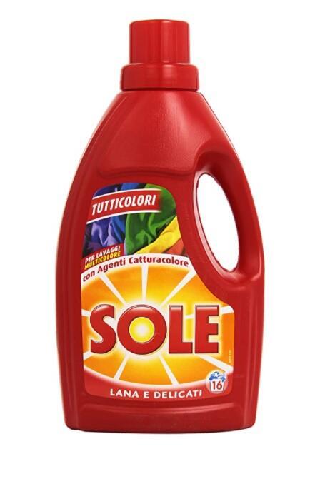 Sole Detersivo per Bucato in Lavatrice e a Mano, Tutticolori con Agenti Catturacolore, Lana e Delicati, 16 Lavaggi, 1000 ml