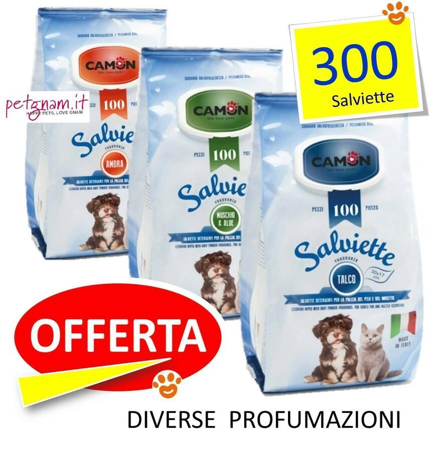 Camon 300 Salviette Detergenti Igieniche Per Pulizia Cani e Gatti Profumate