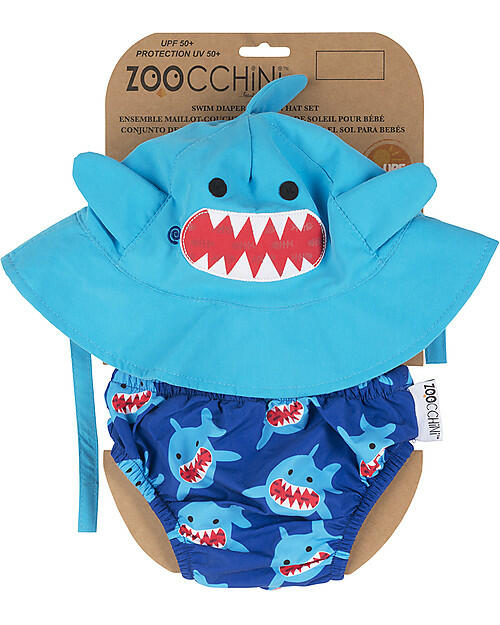 Set Baby Costumino contenitivo + Cappellino UPF 50+ - Squalo