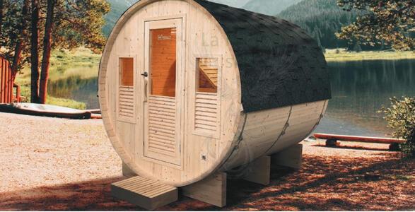 Sauna Barile Gaia in abete canadese L 205 x P 160 x H 220 cm Riscaldatore e Cromoterapia Inclusi