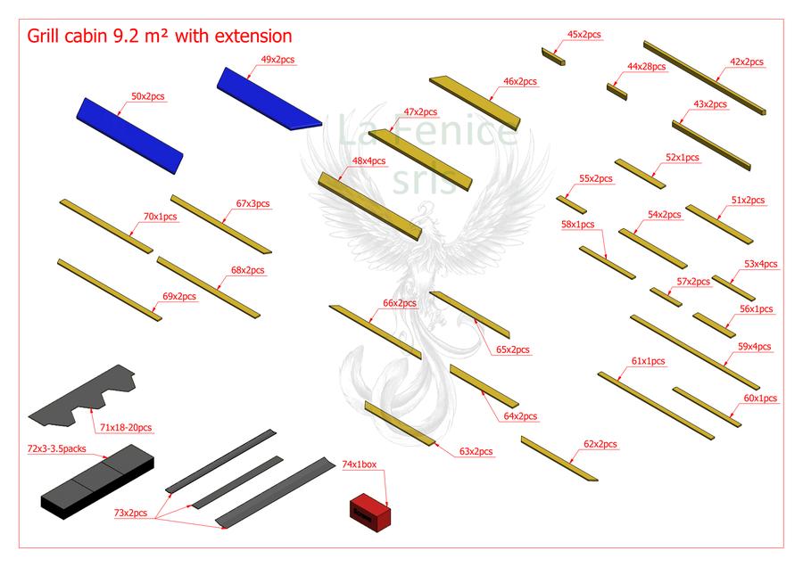OFFERTA SISSY - Grill Kota esagonale con estensione Mod. Greta 9,2mq + L. 3,0 - 45 mm - Con Grill e Camino