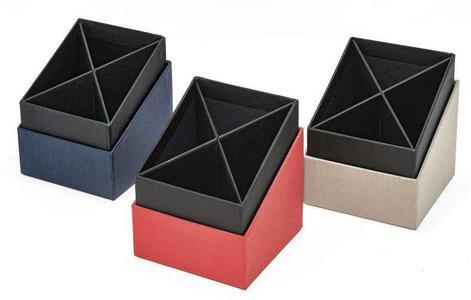 Portapenne 4 scomparti - colore blu - Linea Living - Buffetti 0223LV100