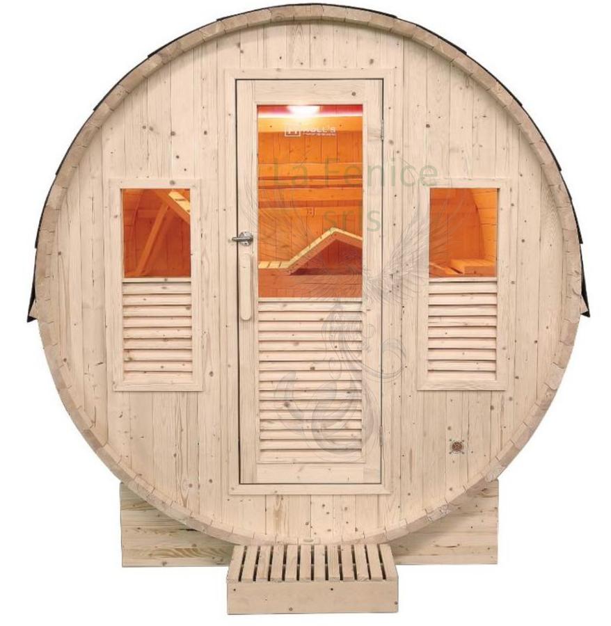 Sauna Barile Omega in abete canadese L 205 x P 200 x H 220 cm Riscaldatore e Cromoterapia Inclusi