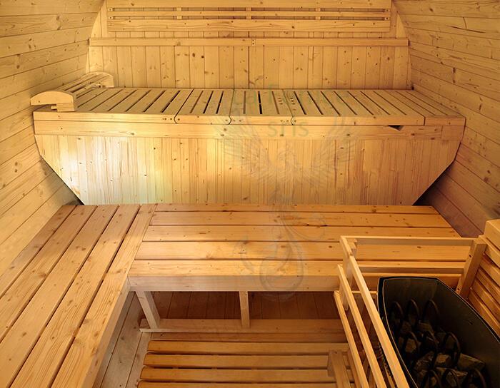Sauna Barile Luna in abete canadese L 250 x P 205 x H 220 cm Riscaldatore e Cromoterapia Inclusi