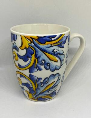 Set 2 Tazze da Colazione Tisane Tè Caffè Cappuccino Latte Porcellana Stile Amalfi 385ml