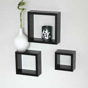 Set 3 Mensole da Muro Parete in Legno MDF a Forma di Cubo di Colore Nero Arredamento Arredo Cubi Pensili Ufficio