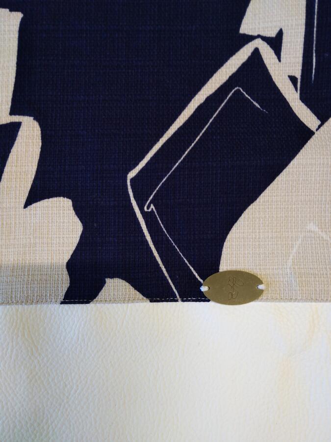 Zaino a sacca donna fantasia blu/ tortora/ bianco