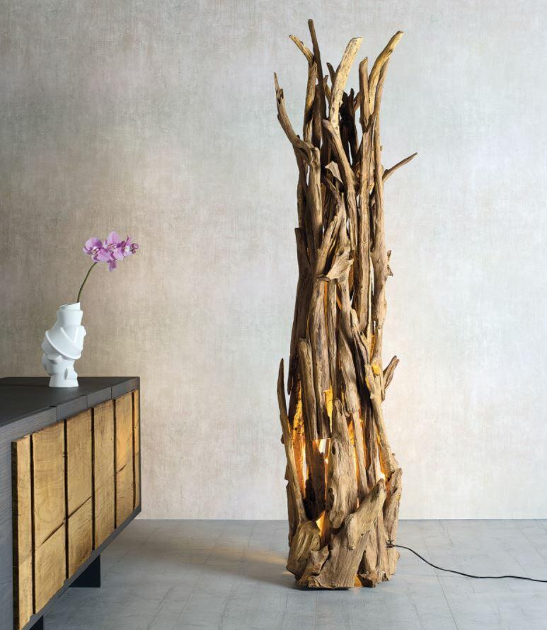 Lampada da Terra LUCIGNOLO di Nature Design con Rami di Legno Intrecciati a Mano - Offerta di Mondo Luce 24