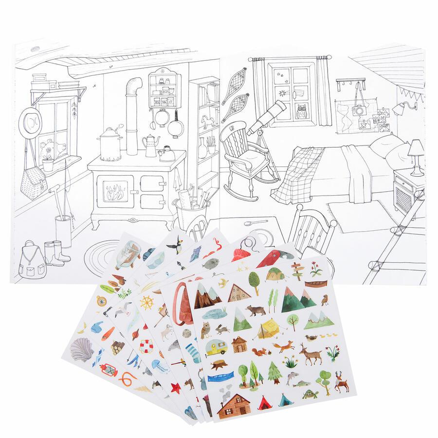Album da colorare con adesivi - L'esploratore
