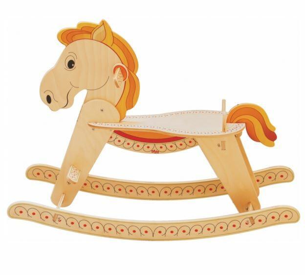 Cavallo a Dondolo per Bambini in Legno Naturale di Dida Saldi