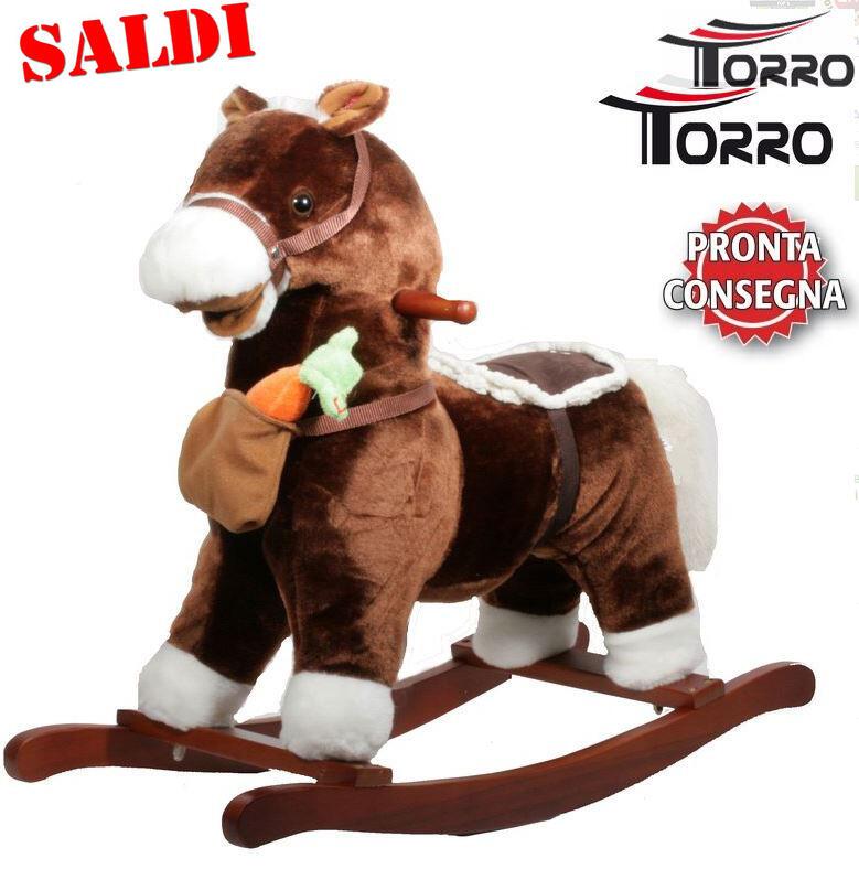 """Cavallo a Dondolo """"Con Borsa e Carota"""" in Legno Naturale e Tessuto Colore Marrone Movimento Bocca di Torro Saldi"""