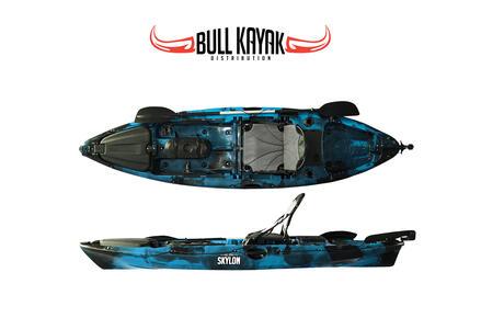 SKYLON 305 Fishing Bull Kayak con 2 portacanne, 3 gavoni + timone + pagaia + seggiolino