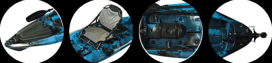 SKYLON 312 Fishing Bull Kayak con 2 portacanne, 3 gavoni + timone + pagaia + seggiolino alluminio