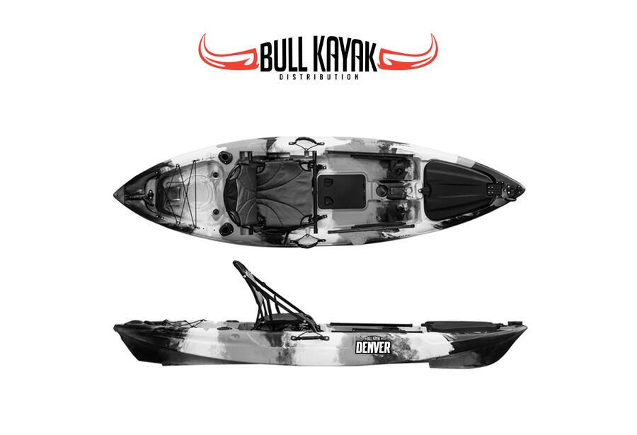 DENVER 292 Fishing Bull Kayak con 2 portacanne + 2 gavoni + timone + pagaia + seggiolino