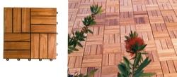 Piastrelle quadrotto in acacia per pavimenti esterni 30 x 30 con supporto in plastica