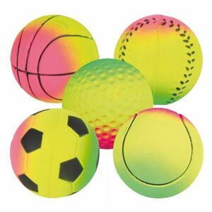 Trixie 4 Palle 7 cm Fluorescenti Gomma Ripiena Resistenti Calcio Rugby Basket Palla