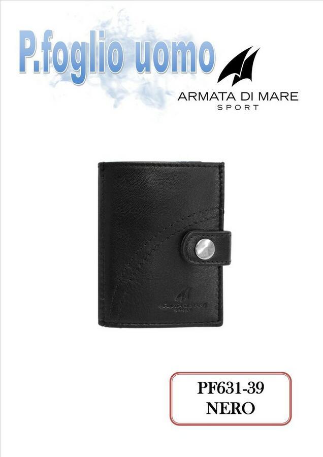 PORTAFOGLIO PICCOLO DA UOMO NERO PF631-39 ARAMATA DI MARE