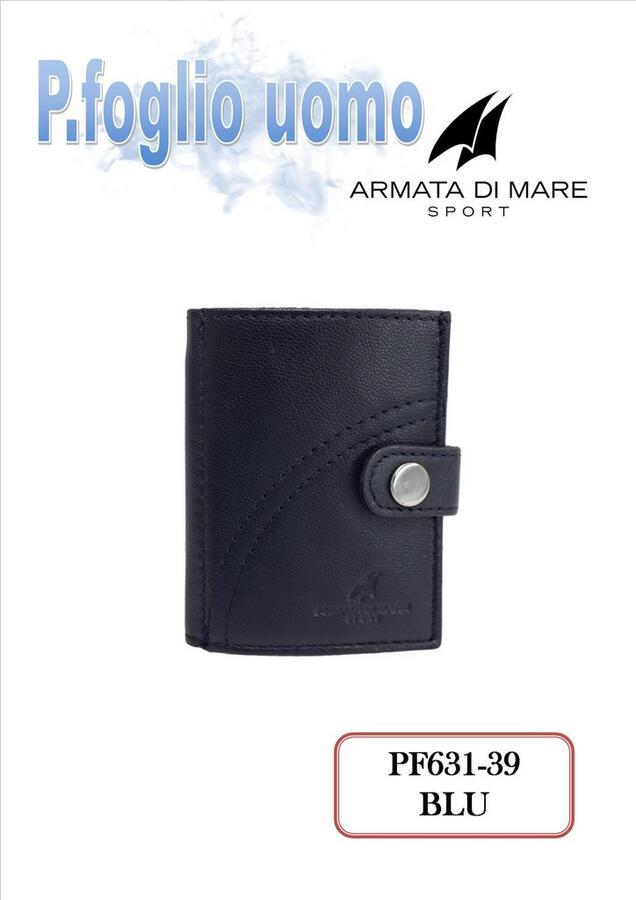 PORTAFOGLIO PICCOLO DA UOMO BLU PF631-39 ARAMATA DI MARE