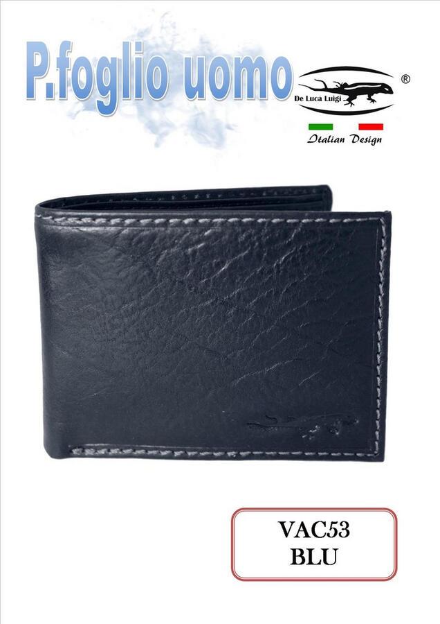 PORTAFOGLIO UOMO NAVY BLU VACCHETTA VINTAGE VAC53 DE LUCA