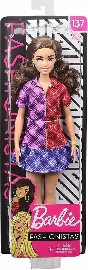 Barbie Fashionistas con Capelli Castani Mossi e Vestitino Plaid - Mattel GHW53 - 3+