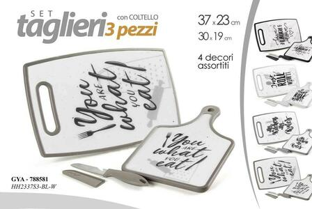 Set Taglieri 3 Pz Tagliere con Coltello Cucina Chef Affetta Taglia Decori Misti