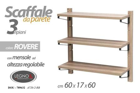 Scaffale da Parete 3 Ripiani Regolabili Mobile Pensile Salvaspazio Rovere 60x60