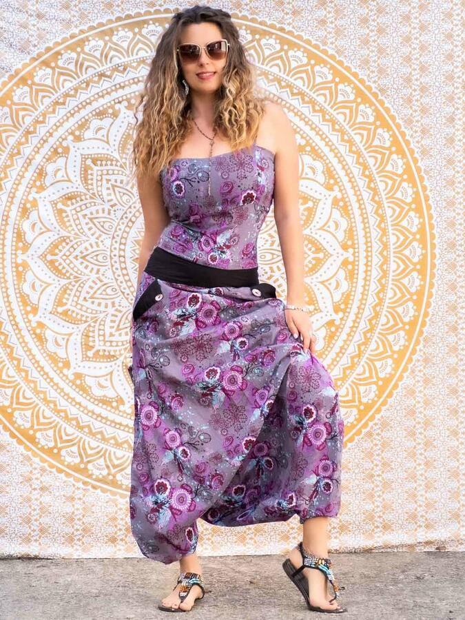Long woman Jumpsuit Vaishali low crotch – purple flowered
