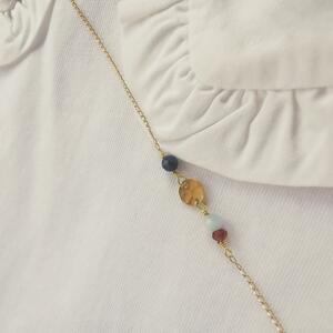Collana in gold filled con piastrina martellata e pietre di nascita [ + colori ]