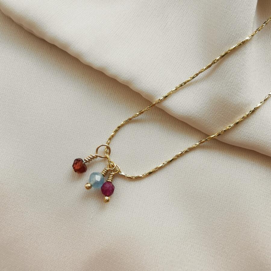 Collana splendillus con piccoli ciondoli pietre di nascita [ + colori ]