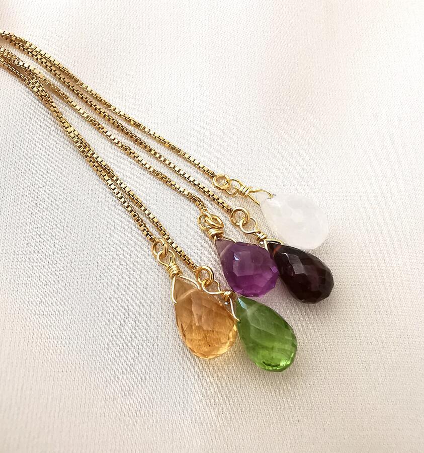 Orecchini con catena veneziana e pietra di nascita [ + colori ]