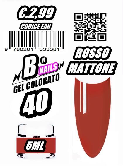 Gel colorato classico 40 rosso mattone -barattolo vetro 5ml