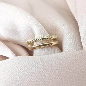 Ear cuff doppio in argento dorato