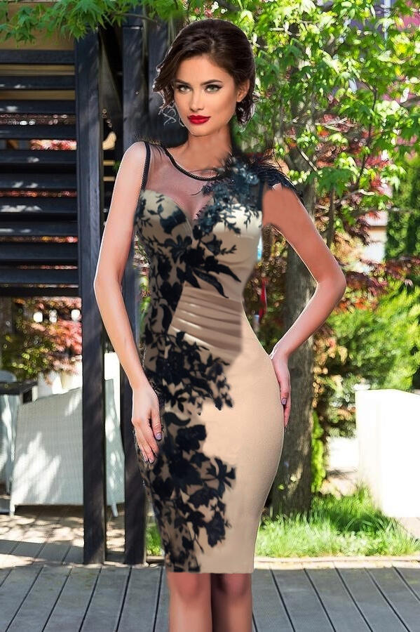 0679 TUBE IN CREPE WITH MICRO SEQUIN EMBROIDERED TULLE AND MACRAME 'LACE