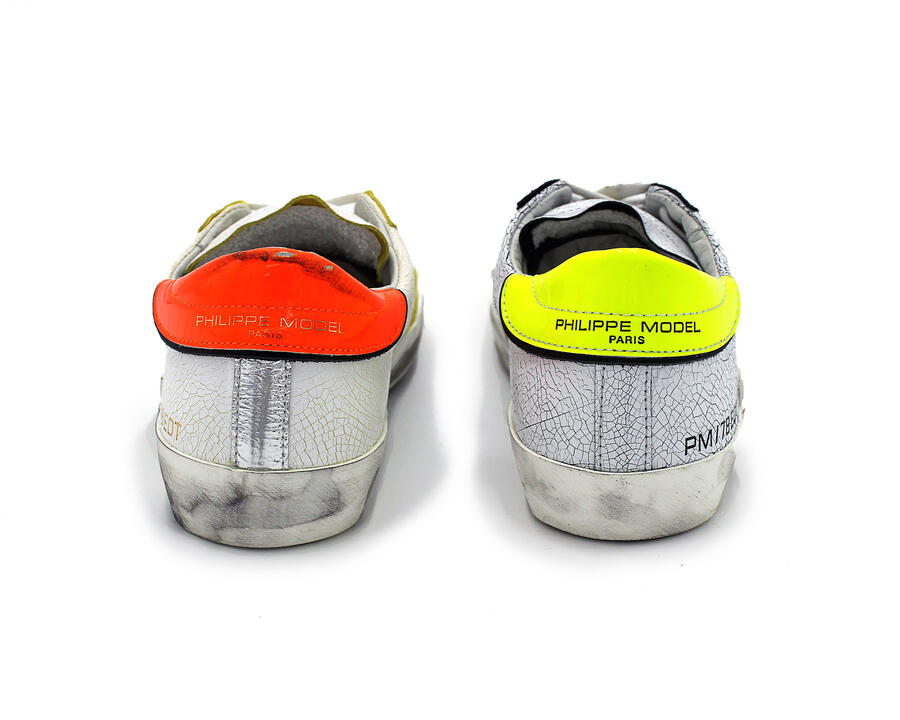 SNEAKERS PHILIPPE MODEL PM/78 EDT IN PELLE BIANCA EFFETTO VINTAGE IN 2 VARIANTI