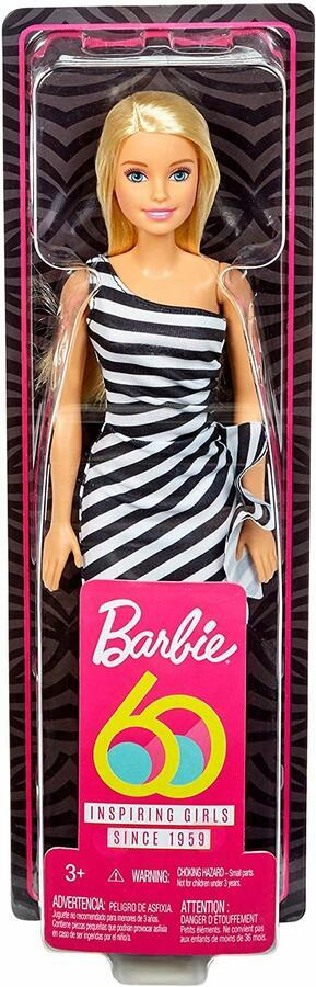 Barbie 60° Anniversario con Vestito a righe Bianco e Nero - Mattel GJF85 - 3+