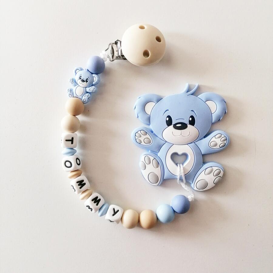 Catenella portaciuccio Orso azzurro massaggiagengive